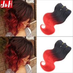 Brazilian Ombre Short Hair Extensions Red Body Wave Human Hair 2016 Trendy Bob Hairstyles for African Women Hair Styles 2016, Short Hair Styles, Brazillian Body Wave, Hair Extensions For Short Hair, Hair 2016, Red Ombre, Body Wave Hair, New Growth