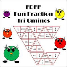 FREE Fun Fraction Tri Ominos A set of 10 basic level fraction Tri Ominos that demonstrates the link between symbols - language - materials in common simplified fractions