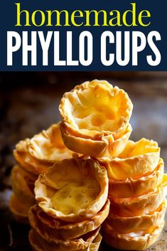 Easy to make these easy phyllo cups can be baked ahead of time stored in the freezer and turned into crowd pleasing appetizers or desserts! Easy to make these easy phyllo cups can be baked ahead of time stored in the freezer and turned Seafood Appetizers, Holiday Appetizers, Best Appetizers, Appetizer Recipes, Snack Recipes, Dessert Recipes, Snacks, Vegetarian Appetizers, Dessert Simple