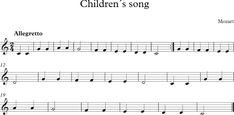 Descubriendo la Música. Partituras para Flauta Dulce o de Pico.: Canción para Niños de Mozart