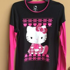Hello Kitty Pink and Black Top  Feel free to ask any questions.  Hello Kitty Tops Tees - Long Sleeve