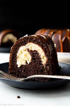 This chocolate cream cheese bundt cake is completely over the top and is finished off with salted caramel.