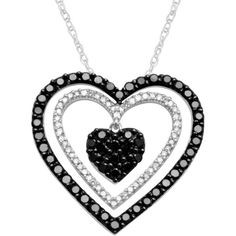 1 CT. T.W. White & Black Diamond Triple-Heart Pendant Necklace ($750) ❤ liked on Polyvore featuring jewelry, necklaces, accessories, used., no color, heart pendant necklace, triple heart necklace, black white diamond necklace, white pendant necklace and heart shaped pendant
