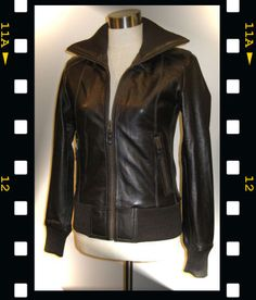 From Finnish nahkarotsit.com Olivia leather bomber jacket in 70s style. It is so cool! Wanna wanna wanna :)