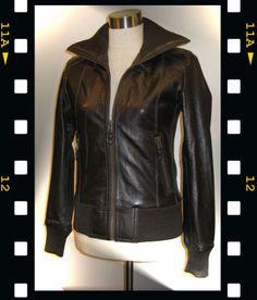 From Finnish nahkarotsit.com Olivia leather bomber jacket in 70s style. It is so cool! Wanna wanna wanna :)