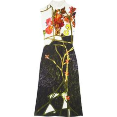 Prada Printed crepe midi dress (137.205 RUB) via Polyvore featuring dresses, black, colorful dresses, prada dresses, multicolor dresses, mid calf dresses и multi color dress