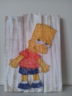 Bart Simpson string art. Check us out on Facebook at All Strung Up. https://www.facebook.com/pages/All-Strung-Up/915873695199667?ref=hl