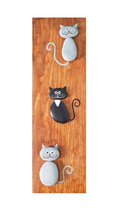 Stone Crafts, Rock Crafts, Arts And Crafts, Stone Pictures Pebble Art, Stone Art, Cat Crafts, Easy Diy Crafts, Pebble Painting, Stone Painting