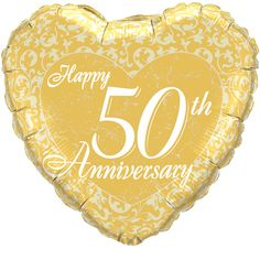 Find wedding anniversary decorations with a wide selection of anniversary favors, gifts, cake toppers, toasting glasses and party supplies. 50th Wedding Anniversary Decorations, 50th Anniversary Decorations, Golden Wedding Anniversary, Happy Anniversary, Happy 50th, Wedding Balloons, Foil Balloons, Helium Balloons, Latex Balloons