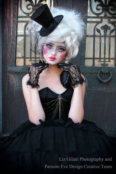 """""""Dreaming of Porcelain""""  Gothic Doll Themed shoot from Gothesque Magazine  Photography by Liz Gilani Model Heather Stewart Makeup/Hair by Cha Cha Romero Clothing by Parasite Eve Designs"""