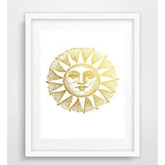 Gold sun art, sun wall art, wall art prints, retro sun print, living... ($5) ❤ liked on Polyvore featuring home, home decor, wall art, gold home accessories, gold wall art, printable wall art, gold home decor and sun wall art