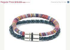 EASTER SALE blue ethnic bracelet * mens woven bracelet * blue leather bracelet * mens rustic bracelet * gift for dad * unisex bracelet * gif