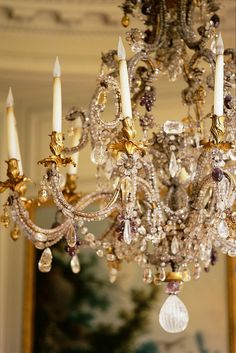 """"""" A vintage chandelier illuminates a love poem writ large. /chandelier in the bedroom is a salvaged piece, with gorgeous crystal, """" Decor, Art Decor, Inspiration, Light, Shabby, Beautiful Lighting, Lights, Beautiful Chandelier, Chandelier Lighting"""