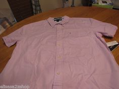 Men's Tommy Hilfiger shirt L slim fit button up purple city poplin 7816083 544  1