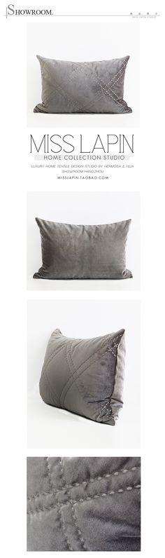 新古典/样板房/家居软装/靠包抱枕/米灰色菱格绗棉绣花腰枕-淘宝网