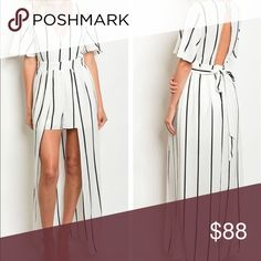 """Sale🌶Striped Stunning Romper Dress ◽️Unique, on trend, gorgeous, flattering.                          ◽️Double lined in the front. 59"""" long. 95% Rayon, 5% polyester. Light weight not heavy material. Great quality. True to size.This dress is to impress. I only have a few. Buy before it's gone. PM boutique Dresses Maxi"""