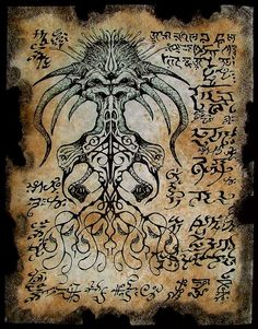 Items similar to BLACK GOAT of the WOODS cthulhu larp Necronomicon Fragment occult horror on Etsy Hp Lovecraft, Lovecraft Cthulhu, Cthulhu Art, Call Of Cthulhu, Necronomicon Pdf, Larp, Art Noir, Chaos Magic, Lovecraftian Horror
