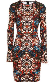 Alexander McQueen Stained glass-print stretch-jersey dress | NET-A-PORTER  need this dress in my life