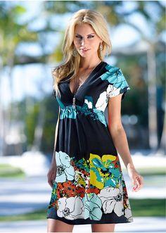 La robe à fleurs noir/rose - Femme - bonprix.fr