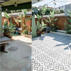 Before + After Room Makeovers with Stencils - Backyard Decor – DIY Patio Floor Stencils and Tile Stencils for Painting – Porch Renovation Idea - Concrete Slab Patio, Painted Concrete Floors, Patio Stone, Flagstone Patio, Painted Concrete Porch, Stenciled Concrete Floor, Tile Patio Floor, Plywood Floors, Concrete Lamp