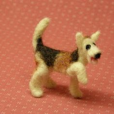 Done with pipe cleaner armature. See post from earlier in the month showing how to do. Needle Felted Animals, Felt Animals, Felt Crafts Patterns, Needle Felting Tutorials, Felt Dogs, Dog Crafts, Clay Crafts, Hardanger Embroidery, Barbie Patterns