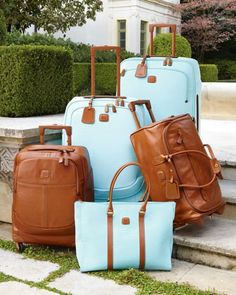 Now those are some stylish suitcases! I'd like to travel with this pretty baby blue and brown leather Esmeralda luggage collection by Bric's Handbags Michael Kors, Michael Kors Bag, Mk Handbags, Travel Luggage, Travel Bags, Luxury Luggage, Airline Travel, Luggage Bags, Sacs Design