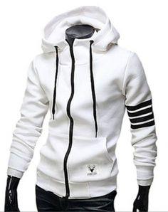 Áo khoác nỉ viền tay màu trắng - A9658