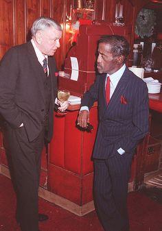 Sinatra and Sammy Davis, Jr. at Frank's 74th birthday at Chasen's in 1989.