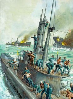 The painting above depicts an American submarine, surfacing and engaging two Jap… – All Pictures Military Art, Military History, German Submarines, War Comics, Boat Art, Naval History, Navy Ships, Art Graphique, Pulp Art