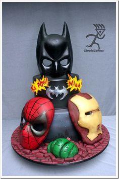 Marvelous Superhero Masks Cake made by Ciccio Cakes