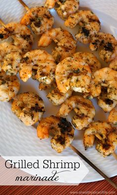 Simple Grilled Shrimp Marinade Recipe A Healthy Slice of Life is part of Shrimp marinade - This marinade is made of everything you already have on hand and comes together quickly to make a delicious summer grilled dish! Pork Rib Recipes, Grilling Recipes, Fish Recipes, Seafood Recipes, Cooking Recipes, Healthy Recipes, Healthy Grilling, Simple Recipes, Recipes Dinner