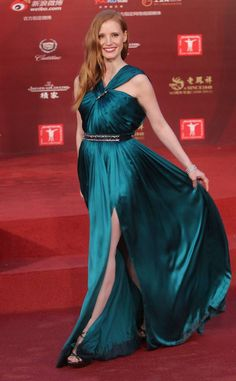 Satin Dresses, Blue Dresses, Gowns, Formal Dresses, Toga Party, Halter Gown, Jessica Chastain, International Film Festival, Night Looks