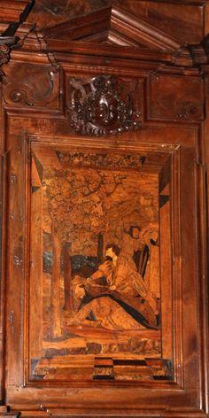 Fra Damiano Zambelli - Martirio di San Pietro da Verona (cartone di Bernardo Zenale) - tarsie del coro - 1510-20 circa - Chiesa dei Santi Bartolomeo e Stefano - Bergamo (Italia)