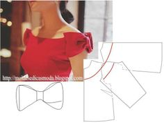 detail for a festive sleeve Moldes Moda por MedidaMoldes Moda por Medida - sleeves that look like big bows - very cute.Reference for bow sleeve - would be sweet on a party dress with a style skirt.This is the only detail for sewing the bow cap sleeve Sewing Dress, Sewing Sleeves, Dress Sewing Patterns, Sewing Clothes, Clothing Patterns, Fashion Sewing, Diy Fashion, Ideias Fashion, Sleeve Designs