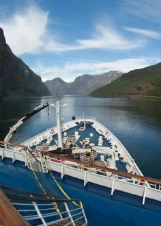The Marco Polo sailing up the fjord. April 2011