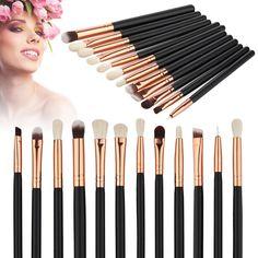 New Arrival 12pcs/Set Face Foundation Powder Eyeshadow Eyeliner Lip Wool Makeup Brush Tools