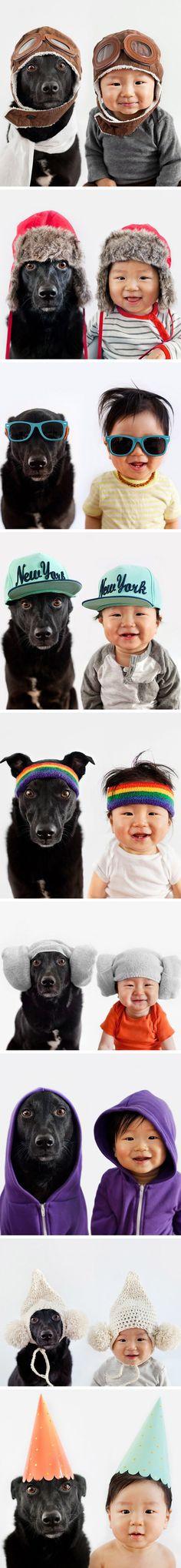 Um bebê fofíssimo com seu cachorrinho!