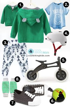 Click on pin for brands and links | Cute children outfit style ideas. Baby toddler fashion organic cotton look for an urban streetwear result. Zara zip fleece hoodie with bunny ears. Nirvana t-shirt. Leggings, leg warmers. Giro Dime helmet, Nutcase bell. Wishbone 3 in 1 bike. Stylish cool kids summer day ride out - Cool Biking Kids