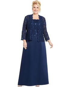 Alex Evenings Plus Size Sequin Lace Gown and Jacket