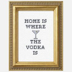 Vodka Home Cross-Stitch Kit, $20, now featured on Fab.