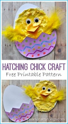 Chick Craft (with Free Printable Pattern) Hatching Chick Craft with Free Printable Pattern from . Adorable Spring and Easter Kids Craft.Hatching Chick Craft with Free Printable Pattern from . Adorable Spring and Easter Kids Craft. Easter Arts And Crafts, Egg Crafts, Easter Projects, Spring Crafts, Crafts To Do, Diy Crafts For Kids, Holiday Crafts, Craft Ideas, Kids Diy