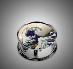 Pair Stainless Steel The Great Wave Earring Plugs for Stretched Ears- Pick Your Size, Custom Made