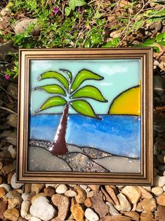 8x8 Resin Beach Glass Window or Wall Art-Suncatcher for Beach House or Office Decor/Colorful Beachy Coastal Decor/Palm Tree Palm Tree Sunset, Palm Trees Beach, Beach Frame, Beach Wall Art, Framed Art Sets, Resin Bond, Seashell Art, Window Art, Resin Art