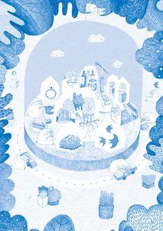 illustration for a comercial center on Behance