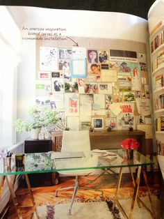 Oversized inspiration board in the middle of the living room/art studio. #Domino @Domino Campellone magazine