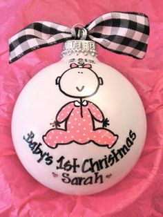 Baby Girl's 1st Christmas - Hand Painted Personalized Ornament. $14.00, via Etsy.