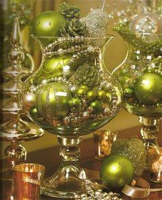 lime green ornaments in vases with mercury glass accessories