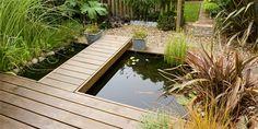 69 Ideas For Small Patio Deck Water Features Pond Design, Landscape Design, Garden Design, Patio Pond, Ponds Backyard, Walkway Garden, Wooden Walkways, Wooden Decks, Wooden Path