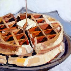 Waffles oil painting food painting by Merrill Weber Food Art Painting, Paintings Of Food, Art Oil Paintings, Painting People, Painting Flowers, Painting Videos, Artist Painting, Aesthetic Painting, Aesthetic Art
