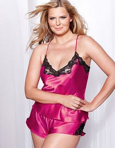 Hot Pink Satin and Lace Slip Sexy Sleepwear Lingerie at LingerieFirst Store